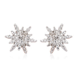 Diamond (Rnd) Snowflake Stud Earrings (with Push Back) in Rose Gold Overlay Sterling Silver