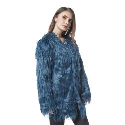 Close Out Designer Inspired Blue Colour Faux Fur Jacket (Size 75X53 Cm)