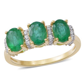 9K Yellow Gold AAA Kagem Zambian Emerald (Ovl), Natural White Cambodian Zircon Ring 2.650 Ct.
