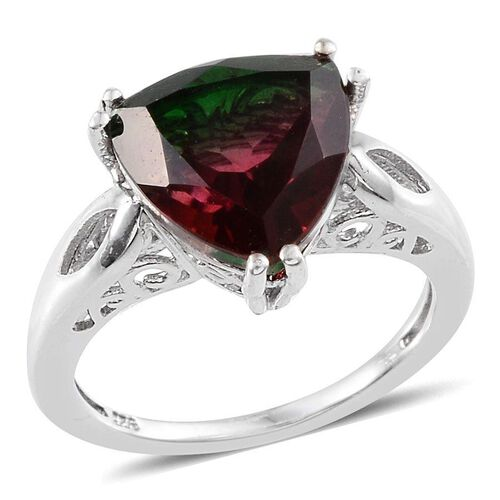 Tourmaline Colour Quartz (Trl) Solitaire Ring in Platinum Overlay Sterling Silver 4.750 Ct.