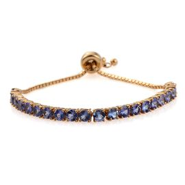 Tanzanite (Rnd) Adjustable Bracelet (Size 6.5 to 9) in 14K Gold Overlay Sterling Silver 4.500 Ct.