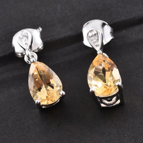 Citrine and Natural Cambodian Zircon 3.75 Ct. Silver Earrings in Platinum Overlay with Push Back