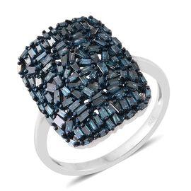 Designer Inspired - Firework Blue Diamond (Bgt) Cluster Ring in Platinum Overlay Sterling Silver 1.250 Ct.