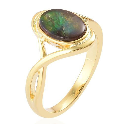 AA Canadian Ammolite (Ovl) Solitaire Ring in Yellow Gold Overlay Sterling Silver 1.500 Ct.