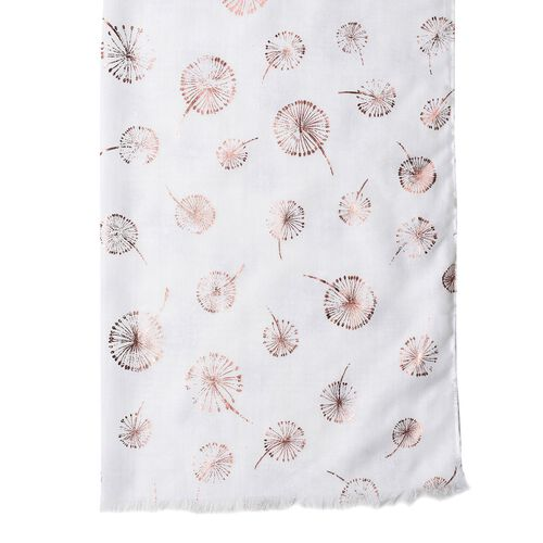 Golden Dandelion Pattern White Colour Scarf with Fringes (Size 180X70 Cm)