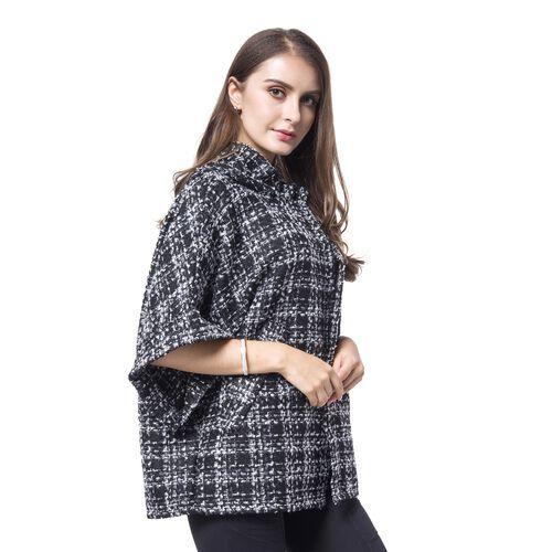 Designer Inspired -Black, White and Grey Colour Checks Pattern Cape (Size 75X60 Cm)