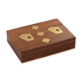 (Option 1) Hand Made - Indian Rosewood Craft Double Playing Cards Storage and Dice Game Box with 5 Dices (Size 18x12 Cm)