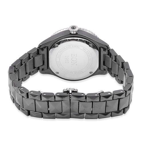 EON 1962 SWISS MOVEMENT Diamond Studded HighTech Black Ceramic Watch (12 - Diamonds 1.1mm)