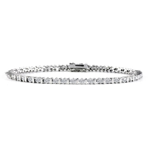 Close Out Deal AAA Simulated Diamond (Rnd) Tennis Bracelet in Silver Bond
