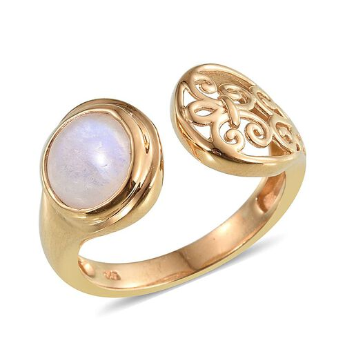 Natural Rainbow Moonstone (Rnd) Solitaire Ring in 14K Gold Overlay Sterling Silver 2.500 Ct.