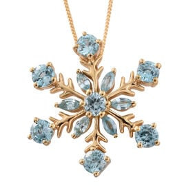 Blue Zircon (Rnd) Snowflake Pendant With Chain in 14K Gold Overlay Sterling Silver 3.250 Ct.