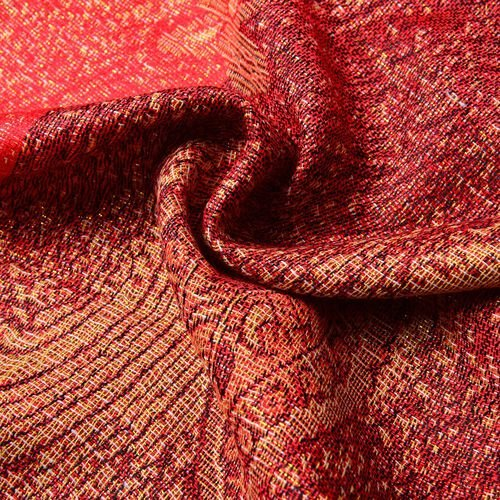 Paisley and Water Wave Pattern Light and Dark Red Colour Scarf (Size 170x70 Cm)