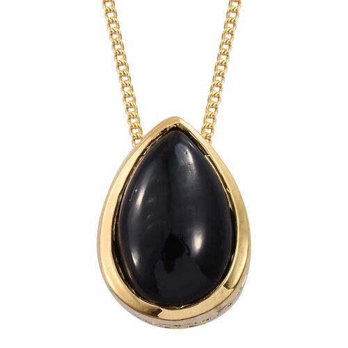 Boi Ploi Black Spinel (Pear) Solitaire Pendant With Chain in 14K Gold Overlay Sterling Silver 3.000 Ct.
