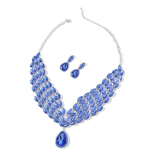 AAA Simulated Blue Sapphire and Blue Austrian Crystal Collar Necklace (Size 20 with 3 inch Extender) and Earrings (with Push Back) in Silver Tone