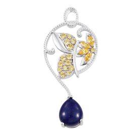 Lapis Lazuli (Pear 4.80 Ct), Simulated Citrine Pendant in ION Plated Platinum Bond 7.250 Ct.
