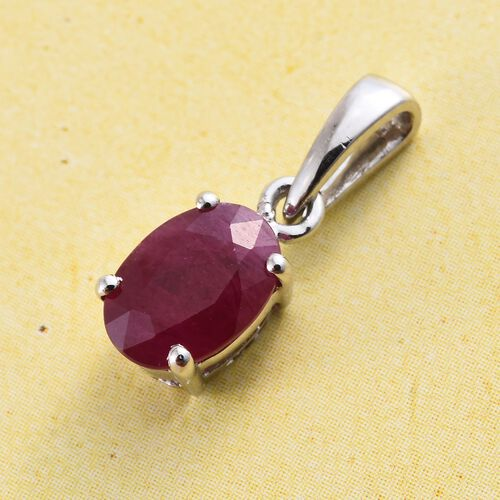 RHAPSODY 950 Platinum AAAA Burmese Ruby (Ovl) Solitaire Pendant 1.000 Ct.
