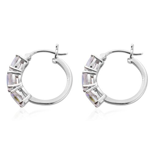 Mercury Mystic Topaz (Ovl) Hoop Earrings (with Clasp) in Platinum Overlay Sterling Silver 3.000 Ct.