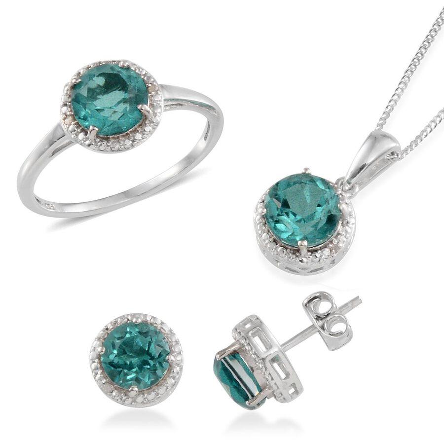 Paraiba tourmaline colour quartz rnd diamond ring stud earrings paraiba tourmaline colour quartz rnd diamond ring stud earrings with push aloadofball Image collections