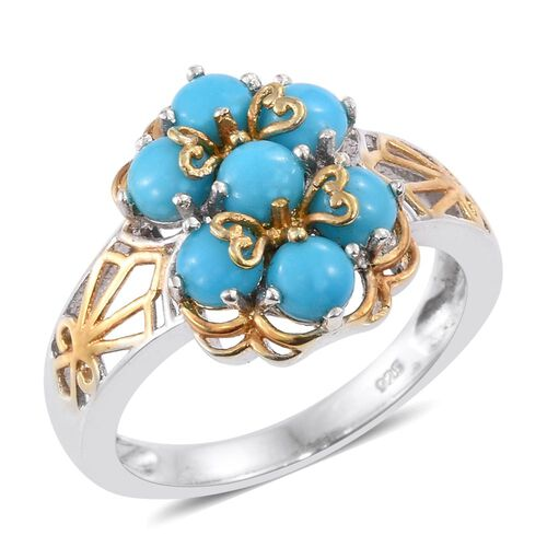 Arizona Sleeping Beauty Turquoise (Rnd) 7 Stone Floral Ring in Platinum and Yellow Gold Overlay Sterling Silver 1.750 Ct.
