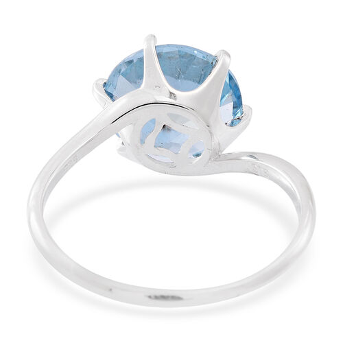 AAA Sky Blue Topaz (Rnd) Solitaire Ring in Rhodium Plated Sterling Silver 7.000 Ct.