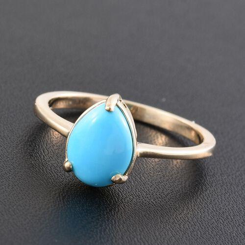 9K Yellow Gold 1.40 Carat AA Arizona Sleeping Beauty Turquoise Pear Solitaire Ring