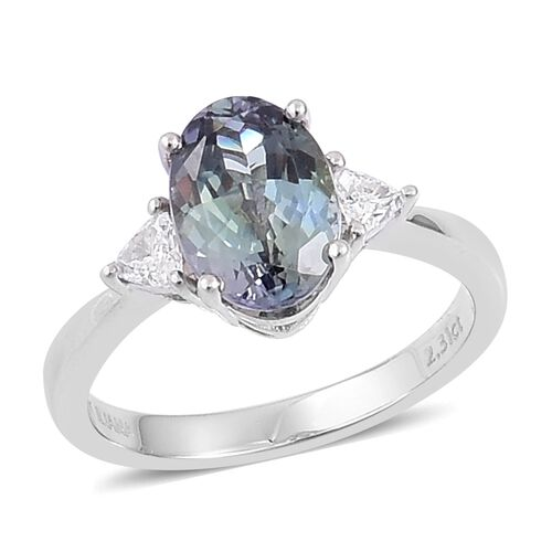 ILIANA 18K White Gold 2.50 Ct AAA Peacock Tanzanite, Diamond SI G-H Ring