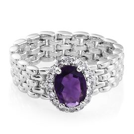 Amethyst (Ovl 1.00 Ct), Natural Cambodian Zircon Ring in Platinum Overlay Sterling Silver 1.250 Ct.