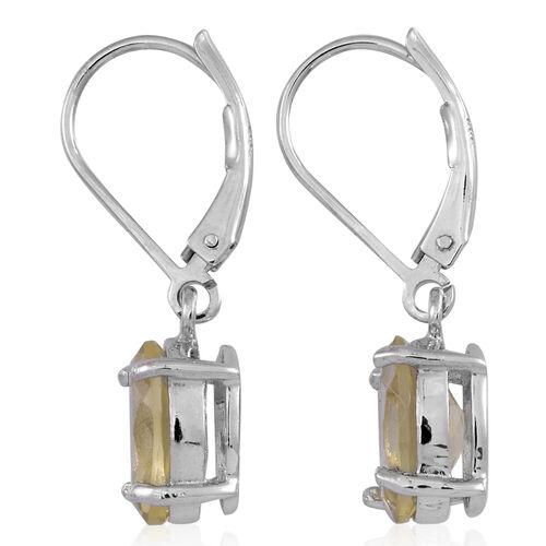 Lemon Quartz (Ovl) Lever Back Earrings in Rhodium Plated Sterling Silver 4.500 Ct.