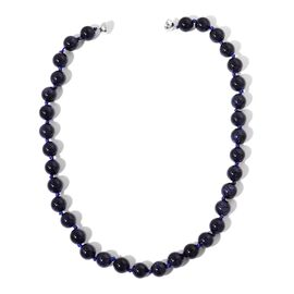 Blue Sandstone Beads Necklace (Size 24) with Magnetic Clasp in Rhodium Plated Sterling Silver