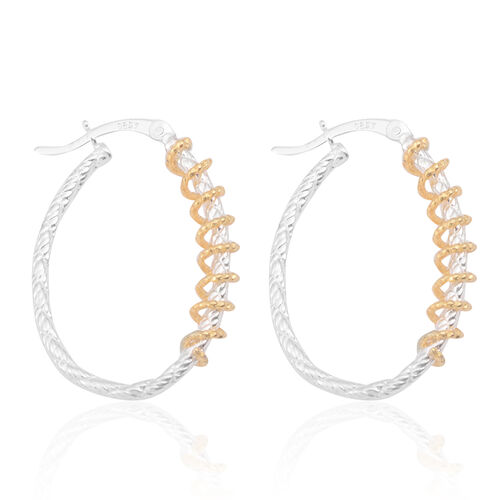 JCK Vegas Collection 14K Gold Overlay Sterling Silver Hoop Earrings (with Clasp)