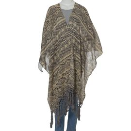 Geometrical Print Grey and Peach Colour Crepe Kimono with Tassels (Free Size)