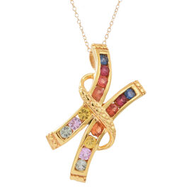 Rainbow Sapphire (Rnd) Pendant with Chain in 14K Gold Overlay Sterling Silver 1.250 Ct.