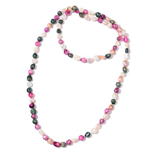Fresh Water Pink, Green, Peach and White Pearl Necklace (Size 46)