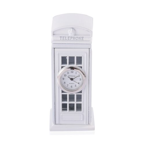 Home Decor - STRADA Japanese Movement White Dial White Phone Booth Design Clock in Silver Tone