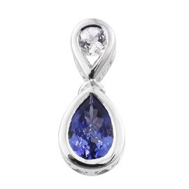 Tanzanite and White Topaz 0.72 Ct Silver Pendant in Platinum Overlay