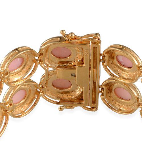 Peruvian Pink Opal (Ovl), Diamond Bracelet in 14K Gold Overlay Sterling Silver (Size 8) 17.050 Ct.