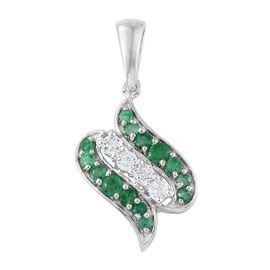 Brazilian Emerald and White Zircon Pendant in Sterling Silver 1.270 Ct.