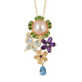 Jardin Collection - South Sea Golden Pearl (Rnd 11-11.5),  Blue Topaz, Amethyst and Multi Gemstone Floral Pendant with Chain in Yellow Gold Overlay Sterling Silver