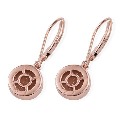 Morogoro Peach Sun Stone (Rnd) Lever Back Earrings in Rose Gold Overlay Sterling Silver 4.250 Ct.