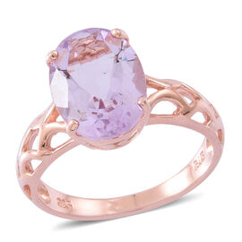 Rose De France Amethyst (Ovl) Solitaire Ring in Rose Gold Overlay Sterling Silver 5.350 Ct.