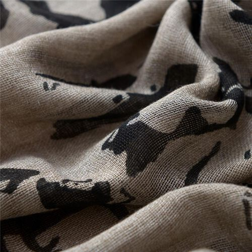 Nivienne Merino Wool (50% Wool) Black and Light Brown Colour Woven Scarf (Size 175x75 Cm)