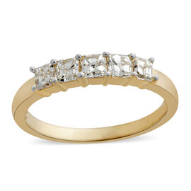 ILIANA 18K Y Gold IGI Certified Princess Cut)Diamond (SI/G-H) 5 Stone Ring 1.000 Ct.