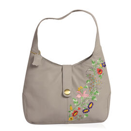 100% Genuine Leather Grey Colour Floral Embroidered RFID Blocker Hobo Bag (Size 35x25x8 Cm)