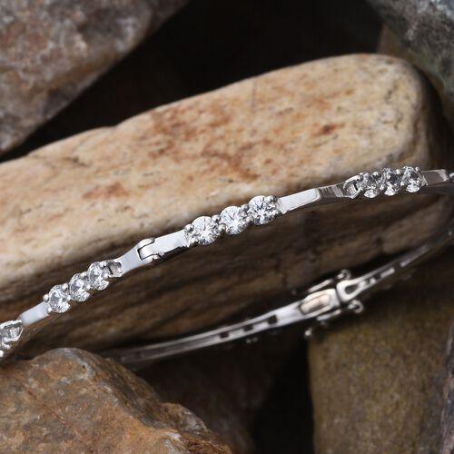 J Francis - Platinum Overlay Sterling Silver (Rnd) Bangle (Size 7.5) Made with SWAROVSKI ZIRCONIA
