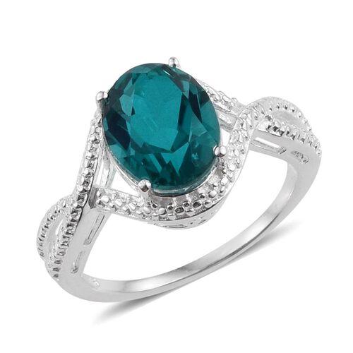 Capri Blue Quartz (Ovl) Solitaire Ring in Sterling Silver 3.000 Ct.
