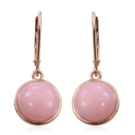 Natural Peruvian Pink Opal (Rnd) Lever Back Earrings in Rose Gold Overlay Sterling Silver 6.500 Ct.