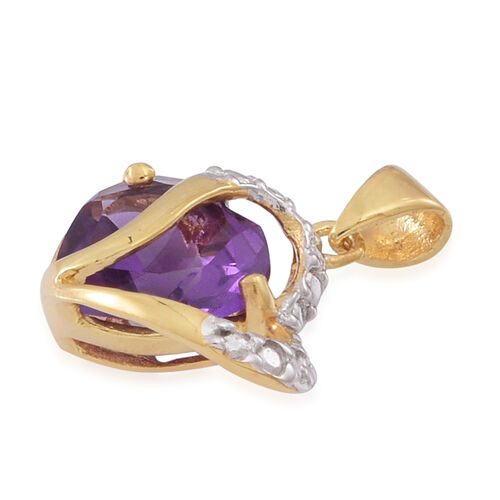 Amethyst (Hrt) Solitaire Pendant in 14K Gold Overlay Sterling Silver 2.000 Ct.