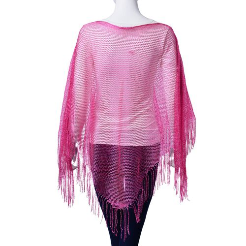 Fuchsia Colour Knitted Poncho with Tassels (Size 165x60 Cm)