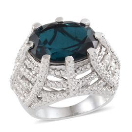Indicolite Quartz (Ovl 9.00 Ct), Diamond Ring in Platinum Overlay Sterling Silver 9.010 Ct.