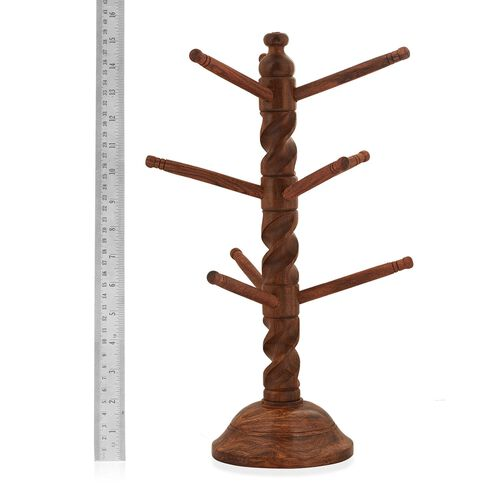 (Option 1) Wooden Foldable Bangle Stand with Cutter Work (Size 35x12 Cm)